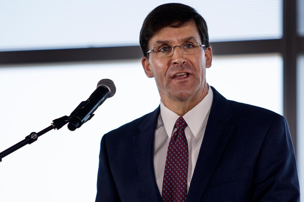 AUSTIN, TX. Aug 24, 2018. Secretary of the Army Mark T. Esper speaks at the launch of the U.S Army Futures Command in downtown Austin. Montinique Monroe for KUT News