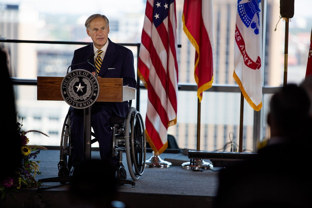 AUSTIN, TX. Aug 24, 2018. Gov. Greg Abbott speaks at the launch of the U.S Army Futures Command in downtown Austin. Montinique Monroe for KUT News