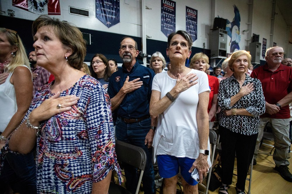 AUSTIN, TX. Sept. 8, 2018. Supporters attend a campaign rally for U.S. Sen. Ted Cruz in Katy, Texas. Montinique Monroe for KUT News