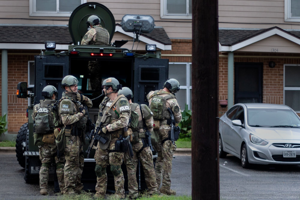 The Austin Police Department SWAT team dispatched to Booker T. Washington Terrace apartments on Oct. 19, 2018.