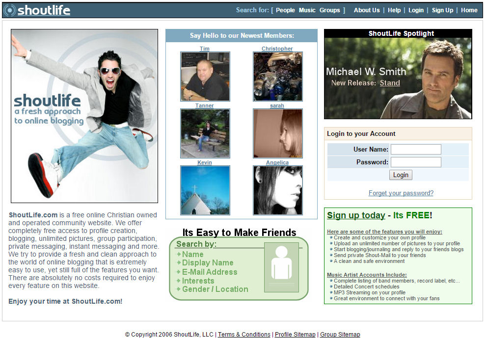 This was one of our first home page designs; pretty plain but it worked.