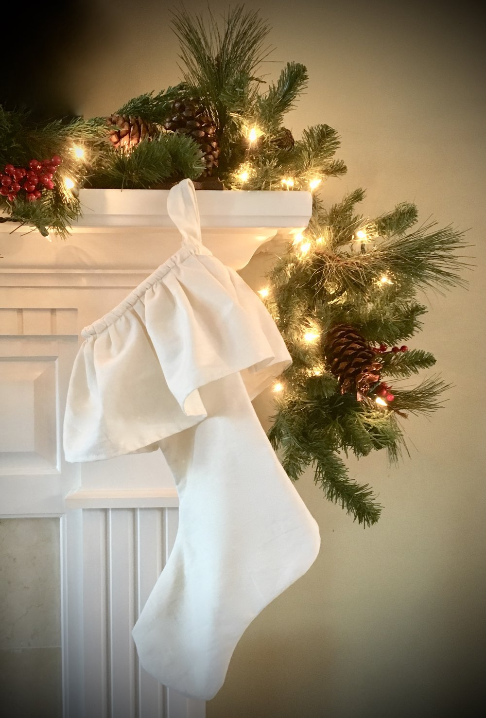 "Our Alexandra Lauren Ruffled Christmas stockings make the perfect addition to your mantle! Available on our website under ""Shop Our favorite things.""  Our lined linen stockings are available in four colors including: Parchment (as shown), French Blue, Soft Green and Christmas Rose.  All of our linens are proudly made in Tennessee!"