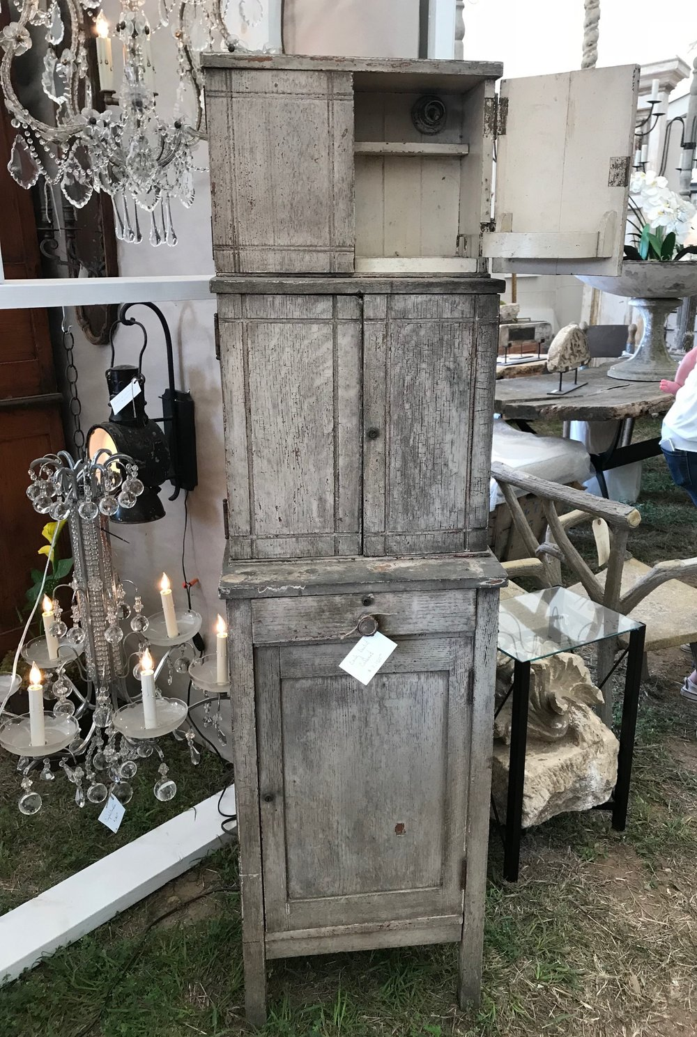 This antique dentist cabinet from Paris, TN will be in Objet Trouvé at The Barn, Bigfork, MT this summer! Imagine what an amazing electrified jewelry cabinet this will be!