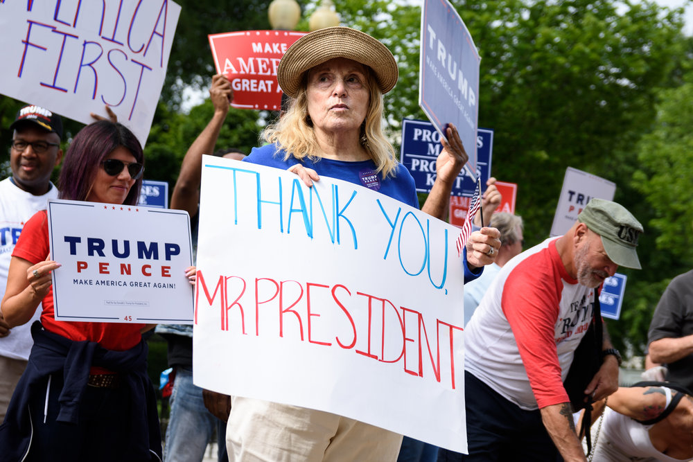 A woman thanks Trump at an anti-Paris climate accord rally outside the White House on June 3.