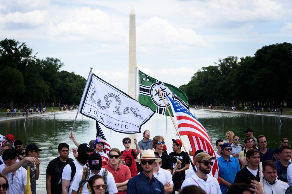 "Members of the alt-right gather for a ""free speech"" rally outside the Lincoln Memorial on June 25, one of two competing rallies."
