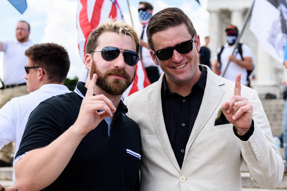 "Tim ""Baked Alaska"" Gionet, left, poses for a photo with white nationalist Richard Spencer, right."