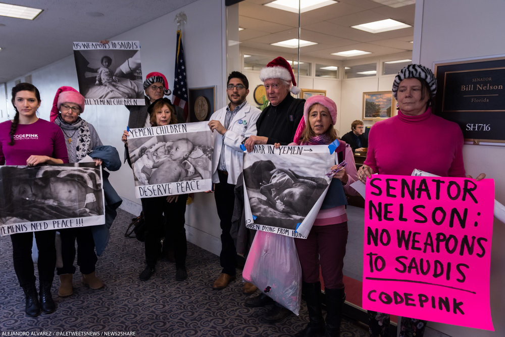 Members of Code Pink before heading into Senator Bill Nelson's office in the Hart building.