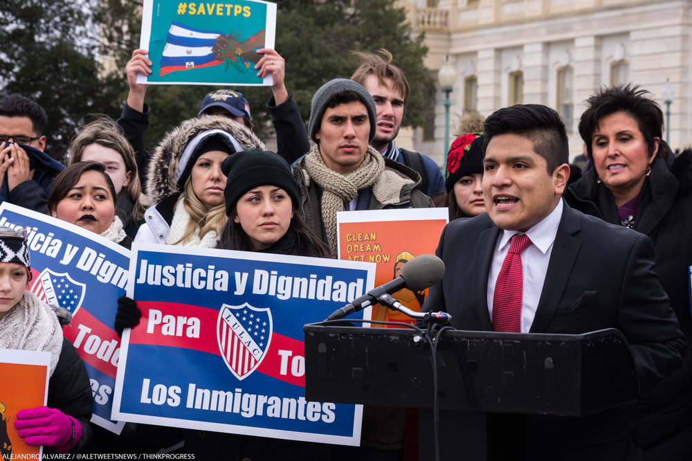 Jose Trujillo, a Texan DACA recipient, speaks about the program's contribution to his education outside the Capitol on Wednesday.
