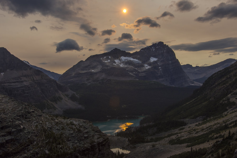 Lake O'Hara on the descent from Abbot Pass, Yoho National Park, BC.