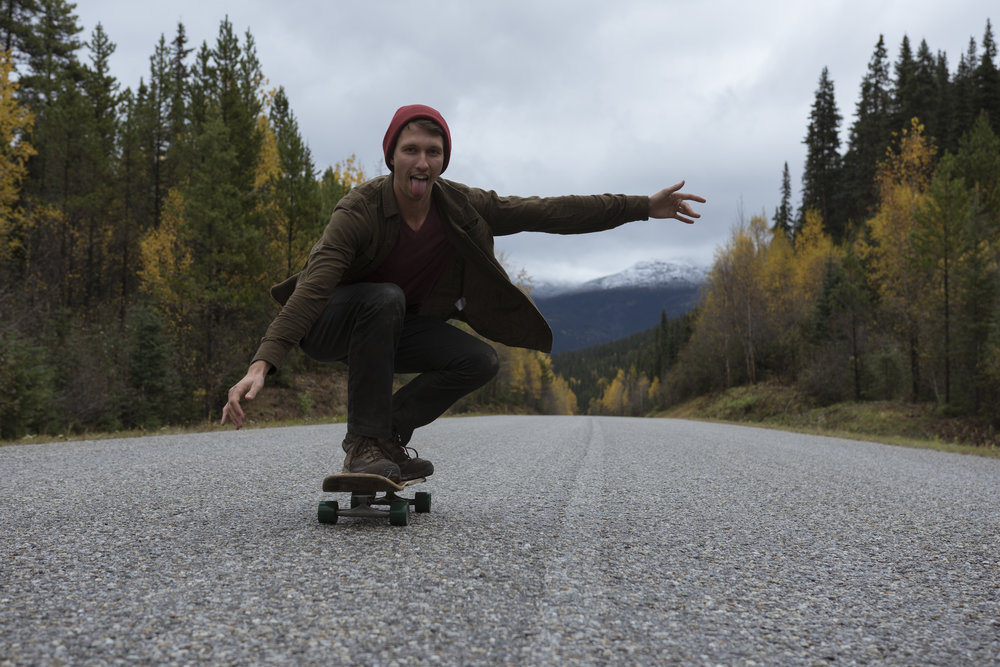 Mushroom picking was a reminder to not take ourselves too seriously on the long days of driving. (Highway 37, Northwest BC.)
