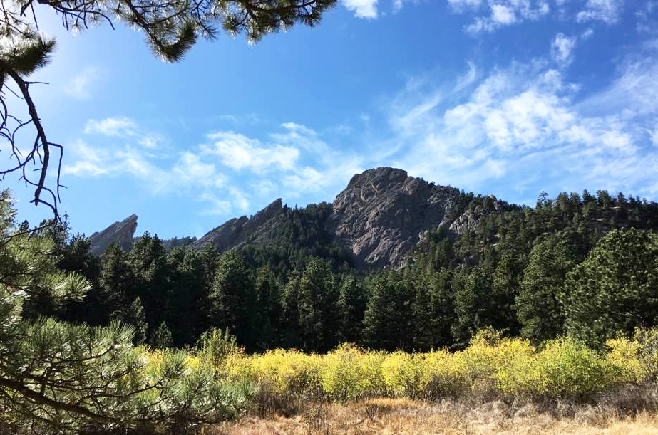 View of the Flat Irons in Chautauqua.