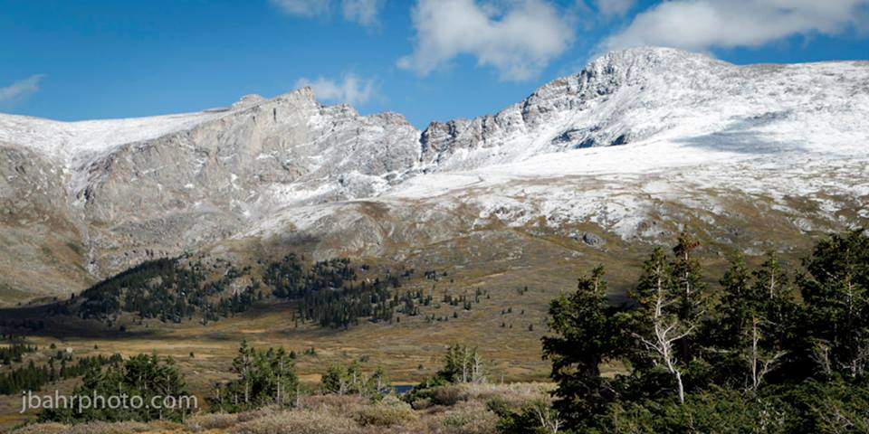 The view at the top of the pass on a first snowfall day in September.