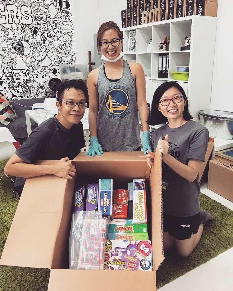 HealthServe (a Singapore based organization that provides support for migrant workers) reps dropped in to take some board games that will be used during community activities as well as provide something meaningful for injured workers who are on the mend.