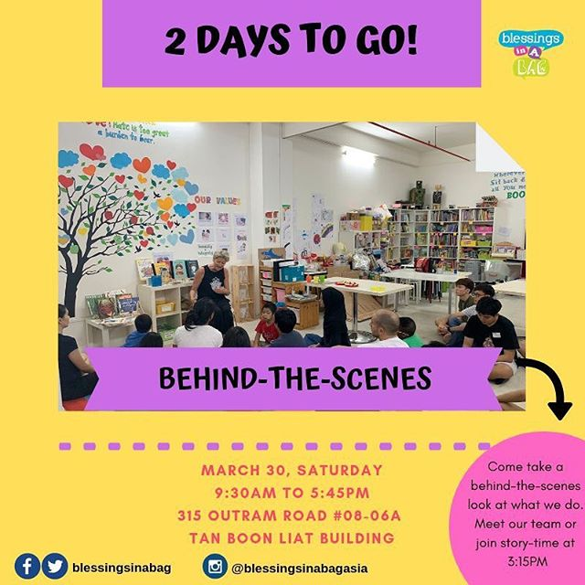 🎈2 DAYS TO GO!🎈 We know many of you have supported, journeyed or have been witnesses to our 11-year-journey, cheer-leading the local community.  We'd love to personally invite you to visit our space and learn about the work we do.  There will be welcoming faces amidst the crowd in the form of our wonderful #worldchangeagents - some have journeyed with us for years and others have just begun their adventure service. 👉30 March | Saturday 👉Jumble Sale: 9:30AM - 5:30PM 👉Creative Play/Art Jam: 1:00PM - 5:45PM 👉315 Outram Road, #08-06A Tan Boon Liat Building  Tag a few friends and share this post 😍👀. If you have questions, please leave us a message below! 👇⠀⠀⠀ ⠀⠀⠀ 👩‍💻http://www.blessingsinabag.co⠀⠀⠀ 💌blessingsinabag [at] gmail [dot] com⠀⠀⠀ 🐥http://www.twitter.com/blessingsinabag⠀⠀⠀ 📣http://www.facebook.com/blessingsinabag⠀⠀ 🤳 http://www.instagram.com/blessingsinanagasia  Official event page for our Jumble Sale and Open House activities can be found here: https://www.facebook.com/events/2306938649535389/  Registration Link for our drop-in creative play/ art jam activity:  You can pre-register a place by making a $5 gift to our program*: https://beyondawesomeplay.peatix.com/view *Free mini tote bag door gift for the first 16 individuals who register online and are the first to arrive at our session. Free magnet door gift for the subsequent 40 individuals who register online and are the first to arrive at our session.
