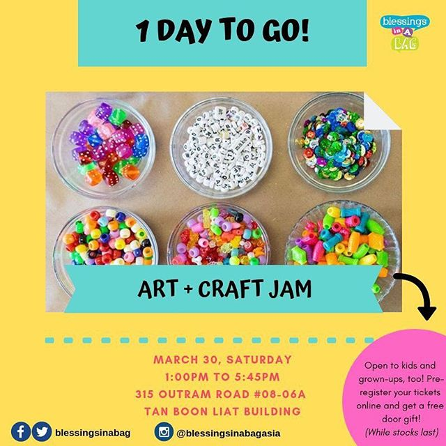 ⭐️1 DAY TO GO⭐️ THIS👏 IS 👏IT! 👏  Did you know that we're opening our space to everyone?! Yes, we will have a drop-in creative play/art jam session for kids (grown ups welcome, too)! Kids can be dropped off for the entire duration (1:00PM - 5:45PM) or can join at a timing of their choice within the 5 hour period!  We'll see you tomorrow! 👋🤩😍🥳 You can pre-register a place by making a $5 gift to our program*: https://beyondawesomeplay.peatix.com/view 👉30 March | Saturday 👉Jumble Sale: 9:30AM - 5:30PM 👉Creative Play/Art Jam: 1:00PM - 5:45PM 👉315 Outram Road, #08-06A Tan Boon Liat Building  Tag a few friends and share this post 😍👀. If you have questions, please leave us a message below! 👇⠀⠀⠀ ⠀⠀⠀ 👩‍💻http://www.blessingsinabag.co⠀⠀⠀ 💌blessingsinabag [at] gmail [dot] com⠀⠀⠀ 🐥http://www.twitter.com/blessingsinabag⠀⠀⠀ 📣http://www.facebook.com/blessingsinabag⠀⠀ 🤳 http://www.instagram.com/blessingsinanagasia  Official event page for our Jumble Sale and Open House activities can be found here: https://www.facebook.com/events/2306938649535389/ *Free mini tote bag door gift for the first 16 individuals who register online and are the first to arrive at our session. Free magnet door gift for the subsequent 40 individuals who register online and are the first to arrive at our session.