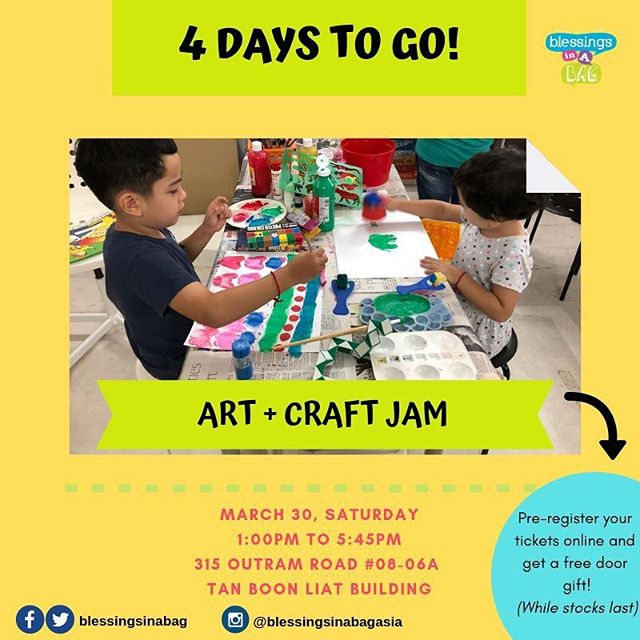 ⭐️4 DAYS TO GO⭐️ Did you know that we're opening our space to everyone?! Yes, we will have a drop-in creative play/art jam session for kids (grown ups welcome, too)! You can pre-register a place by making a $5 gift to our program* using the link in our bio section! 👉30 March | Saturday 👉Jumble Sale: 9:30AM - 5:30PM 👉Creative Play/Art Jam: 1:00PM - 5:45PM 👉315 Outram Road, #08-06A Tan Boon Liat Building  Tag a few friends and share this post 😍👀. If you have questions, please leave us a message below! 👇⠀⠀⠀ ⠀⠀⠀ 👩‍💻http://www.blessingsinabag.co⠀⠀⠀ 💌blessingsinabag [at] gmail [dot] com⠀⠀⠀ 🐥http://www.twitter.com/blessingsinabag⠀⠀⠀ 📣http://www.facebook.com/blessingsinabag⠀⠀ 🤳 http://www.instagram.com/blessingsinanagasia *Free mini tote bag door gift for the first 16 individuals who register online and are the first to arrive at our session.  Free magnet door gift for the subsequent 40 individuals who register online and are the first to arrive at our session.