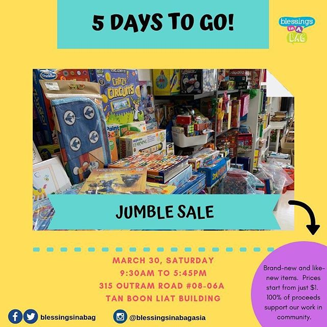The countdown has begun! 🎉  5 days to go and we're working hard to get all our shelves re-stocked, re-organised (so more people can fit through our doors) and setting up our art material for our creative play/art jam activity 🎨(details and tickets can be found by clicking the link in our bio!) 👉30 March | Saturday 👉Jumble Sale: 9:30AM - 5:30PM 👉Creative Play/Art Jam: 1:00PM - 5:45PM 👉315 Outram Road, #08-06A Tan Boon Liat Building  Official event page for our Jumble Sale and Open House activities can be found using the link in our bio!  Tag a few friends and share this post 😍👀. If you have questions, please leave us a message below! 👇⠀⠀⠀ ⠀⠀⠀ 👩‍💻http://www.blessingsinabag.co⠀⠀⠀ 💌blessingsinabag [at] gmail [dot] com⠀⠀⠀ 🐥http://www.twitter.com/blessingsinabag⠀⠀⠀ 📣http://www.facebook.com/blessingsinabag⠀⠀ 🤳 http://www.instagram.com/blessingsinanagasia
