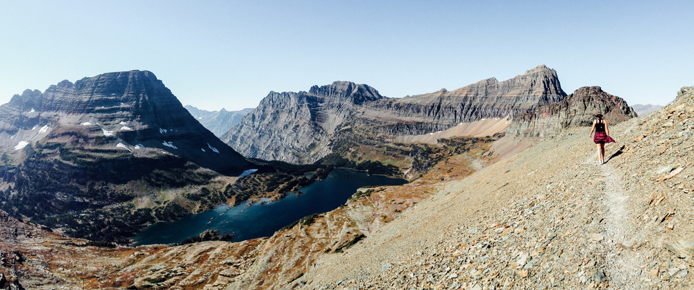 Hiking the ridge above Hidden Lake. Glacier National Park, Montana