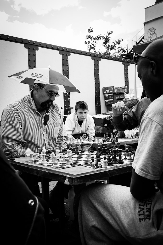Street chess game at Brick Lane (B&W)