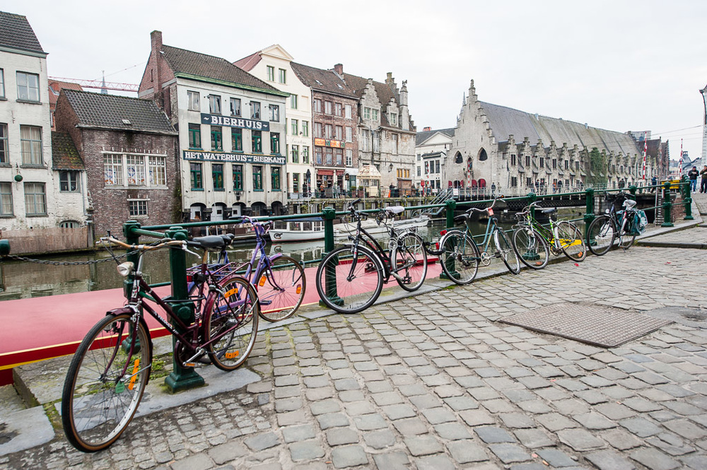 Bikes by the canal, Ghent