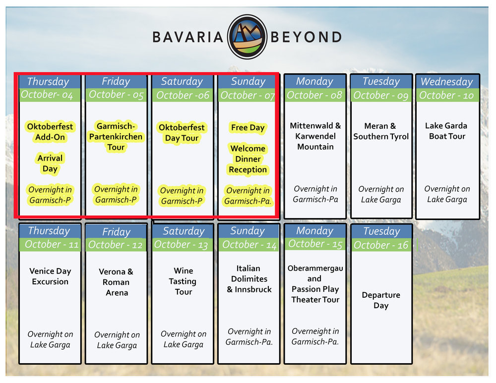 Highlighted Days are part of the oktoberfest add-on. Click on photo to print itinerary