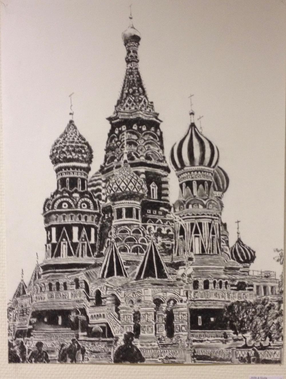 Cathédrale Saint-Basile-Le-Bienheureux, sur la Place rouge à Moscou. © giulia ferla, dessin au fusain, 2014