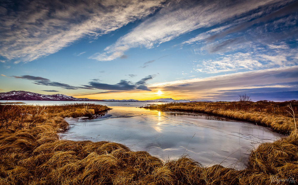 Thingvellir National Park, Iceland, Lake, Ice, Sunset, Mountains, The Waywardpost