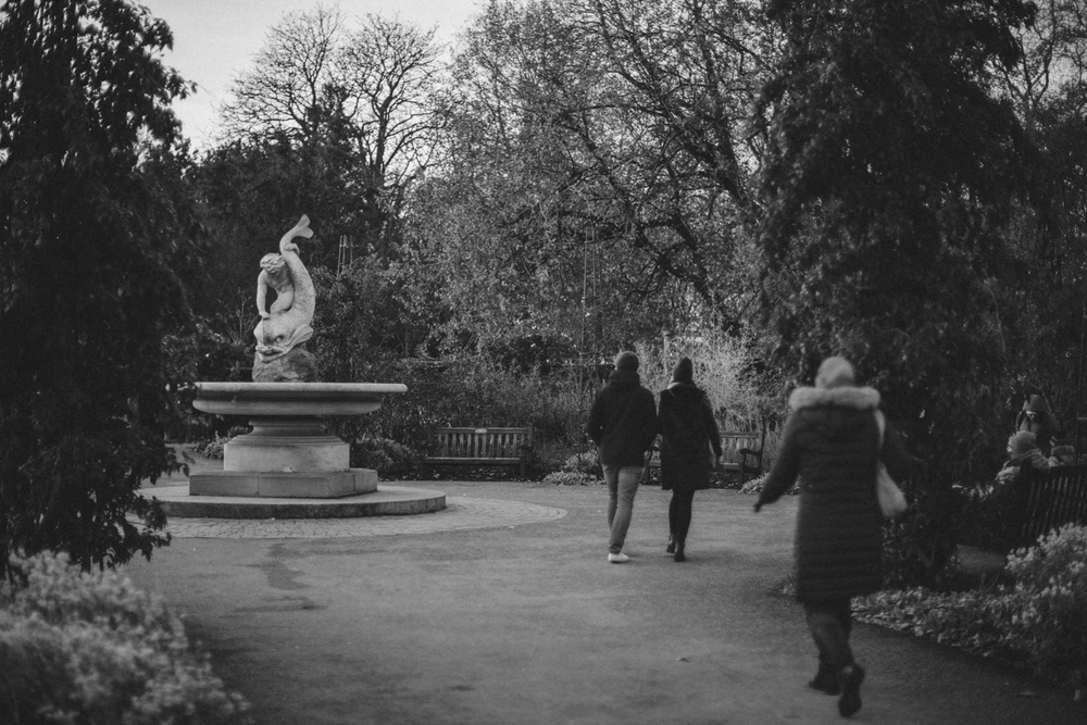 Boy and Dolphin (1863) in the rose garden, Hyde Park Corner, London.