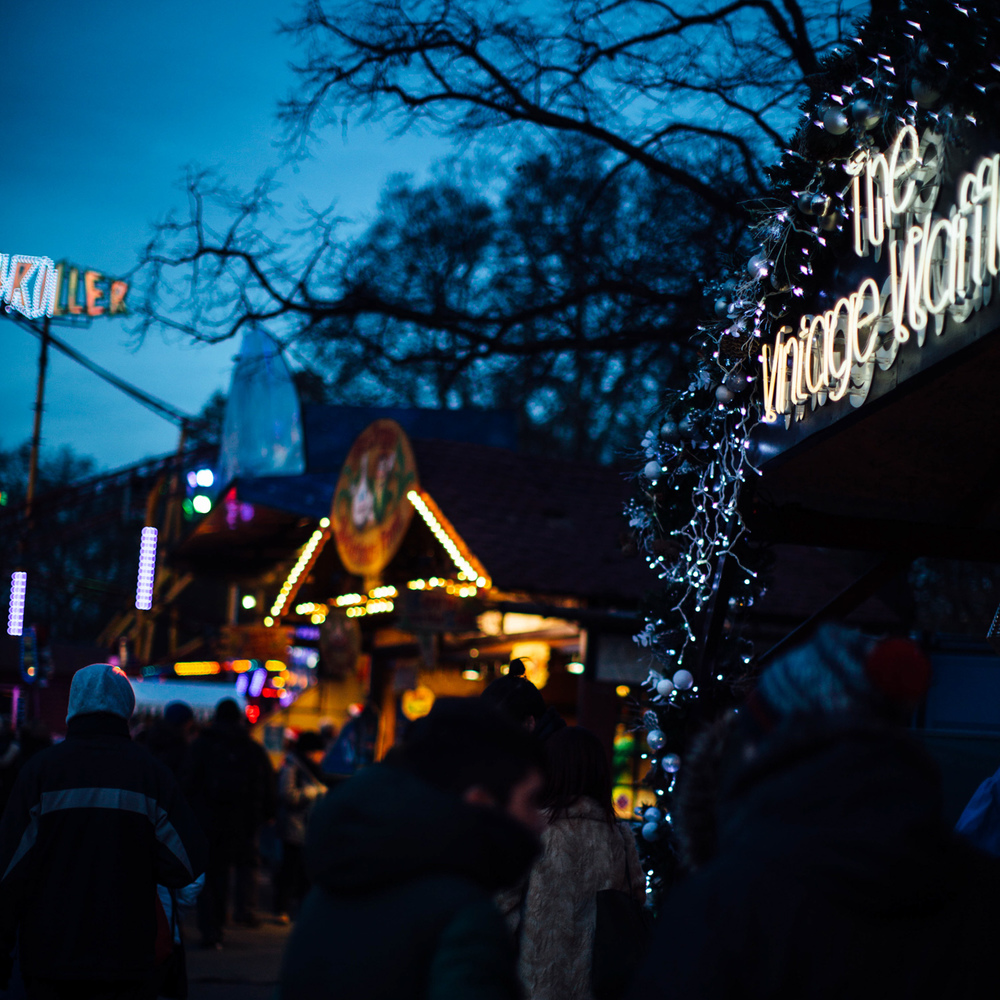 A stroll down the Winter Wonderland food market.