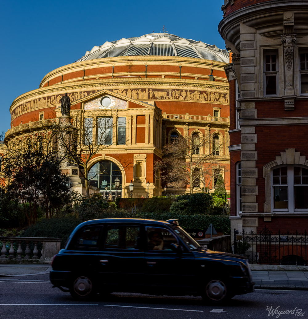 The Royal Albert Hall and London Taxi. Photo by Zygmunt Spray.
