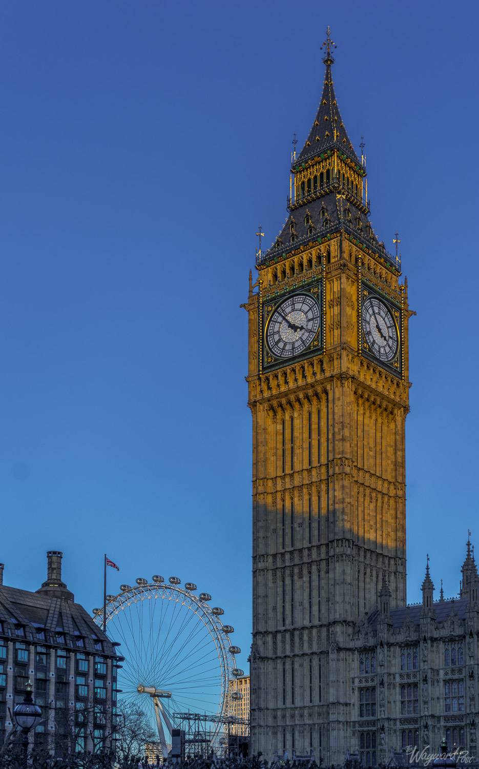 Big Ben, Westminster and the London Eye. Photo by Zygmunt Spray.