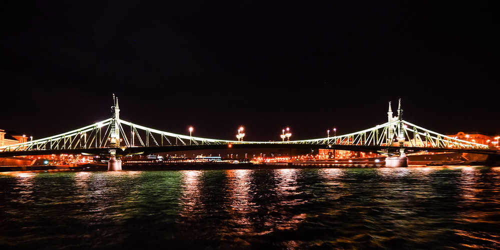 Szabadság Bridge at night - Wayward Weekend Budapest