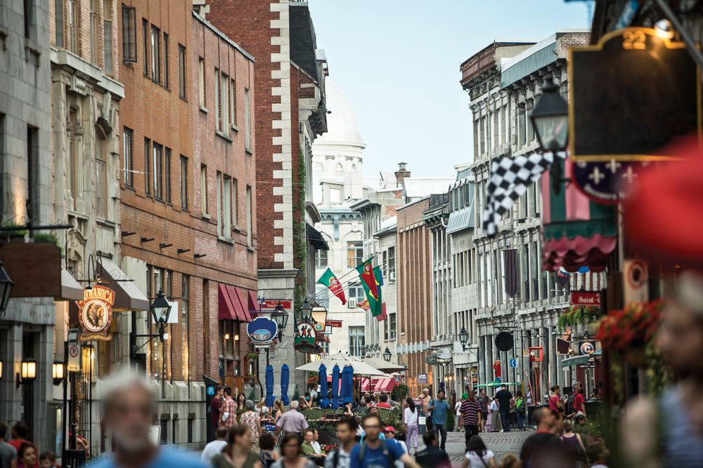 Lively Old Montreal teems with visitors in summer. Photo Courtesy of Tourism Montreal