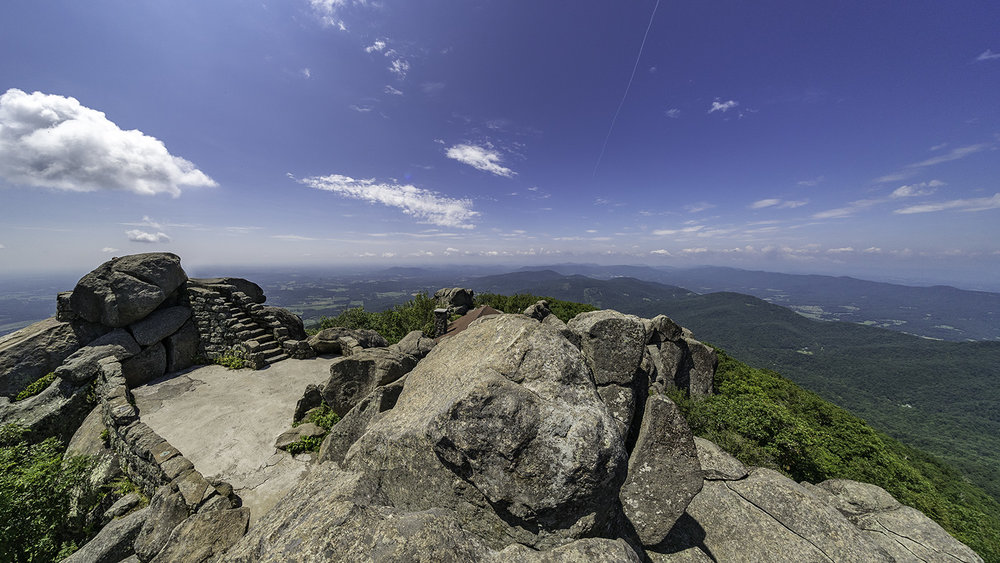The view north from Sharp Top Mountain at The Peaks of Otter on the Blue Ridge Parkway in Virginia. Photo by Zygmunt Spray.