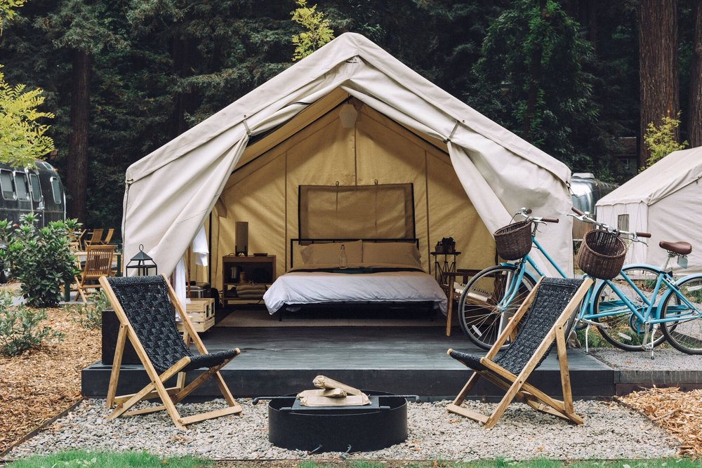Front of luxury canvas tent. Photo Melanie Riccardi