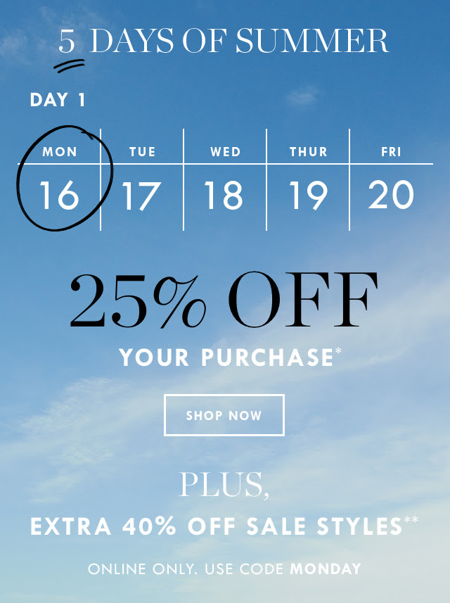 JCREW 5 days of summer sale