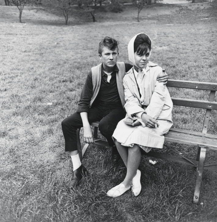Seated young couple on a park bench, N.Y.C. 1962