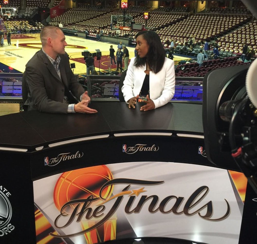 Gianina Thompson and Ben Cafardo (ESPN Communications Director) in Cleveland for the 2015 NBA Finals