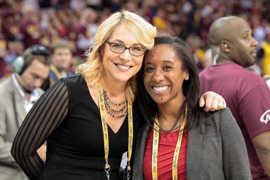 Thompson and Doris Burke (ESPN analyst and reporter) at the 2015 NBA Finals