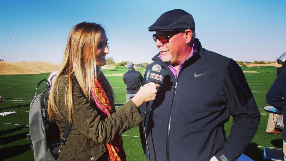 Dimakos interviewing Arizona Cardinals Head Coach Bruce Arians.