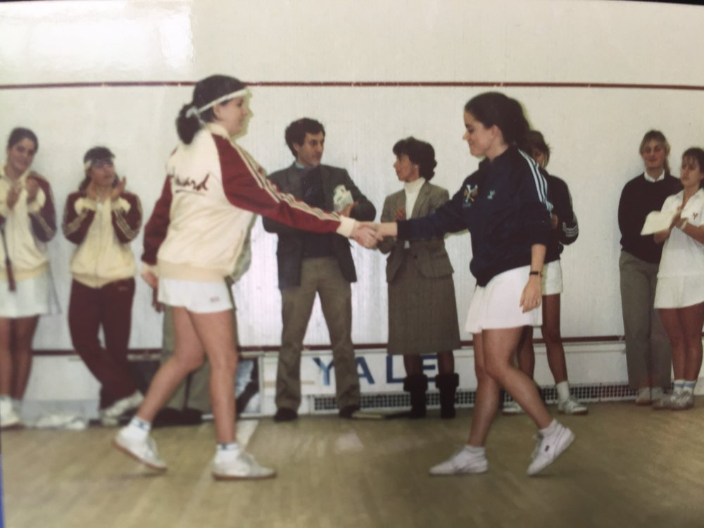 Kim Donaldson playing Varsity Squash at Yale.
