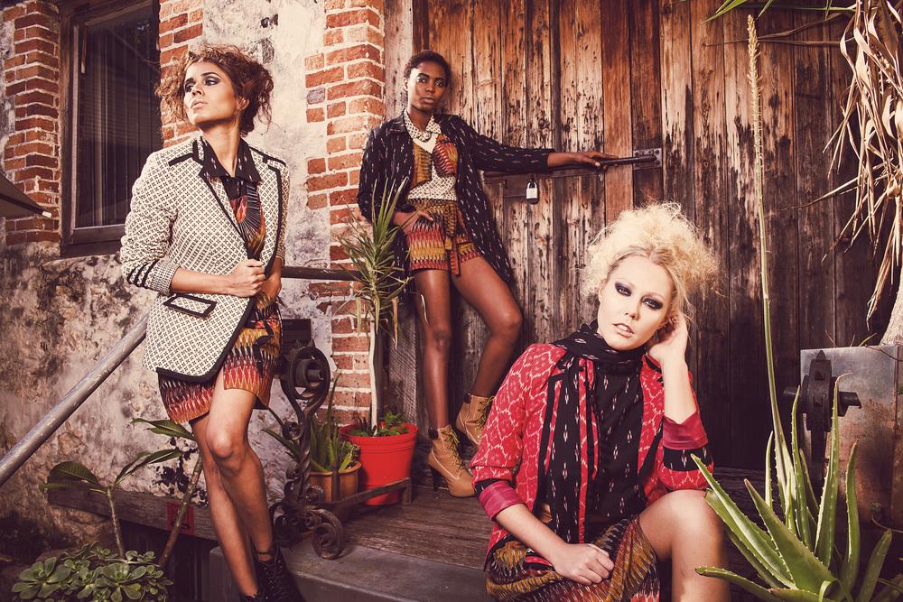 SHREEJA & SHWETA Designer: Shreeja Rajan // Make-up: Barbara Cavalli // Hair: Lenita Psychogios // Accessories: Little Dove Design // Models: Imogen Whitton, Remy Baker & Gerlie Siki (Scene Model Management)