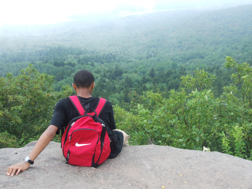 BEAM student at hike panorama