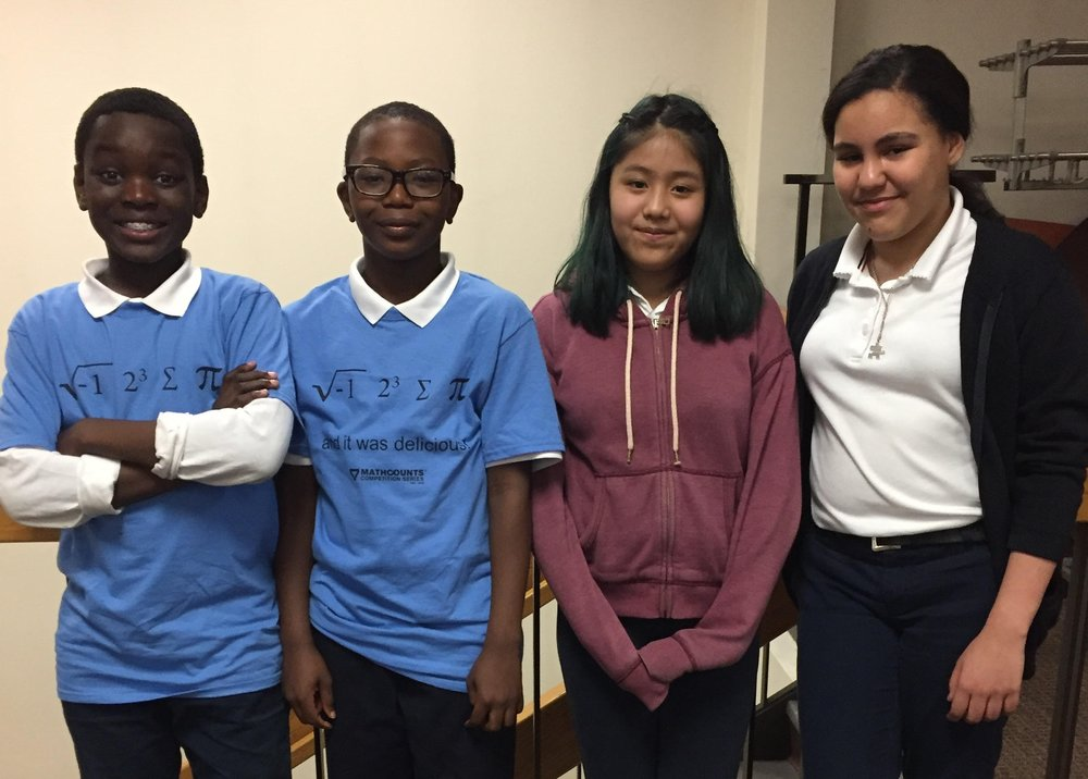 Serigne, Joseph, Selina, and Greily: the MATHCOUNTS team at CIS 303 (Bronx)