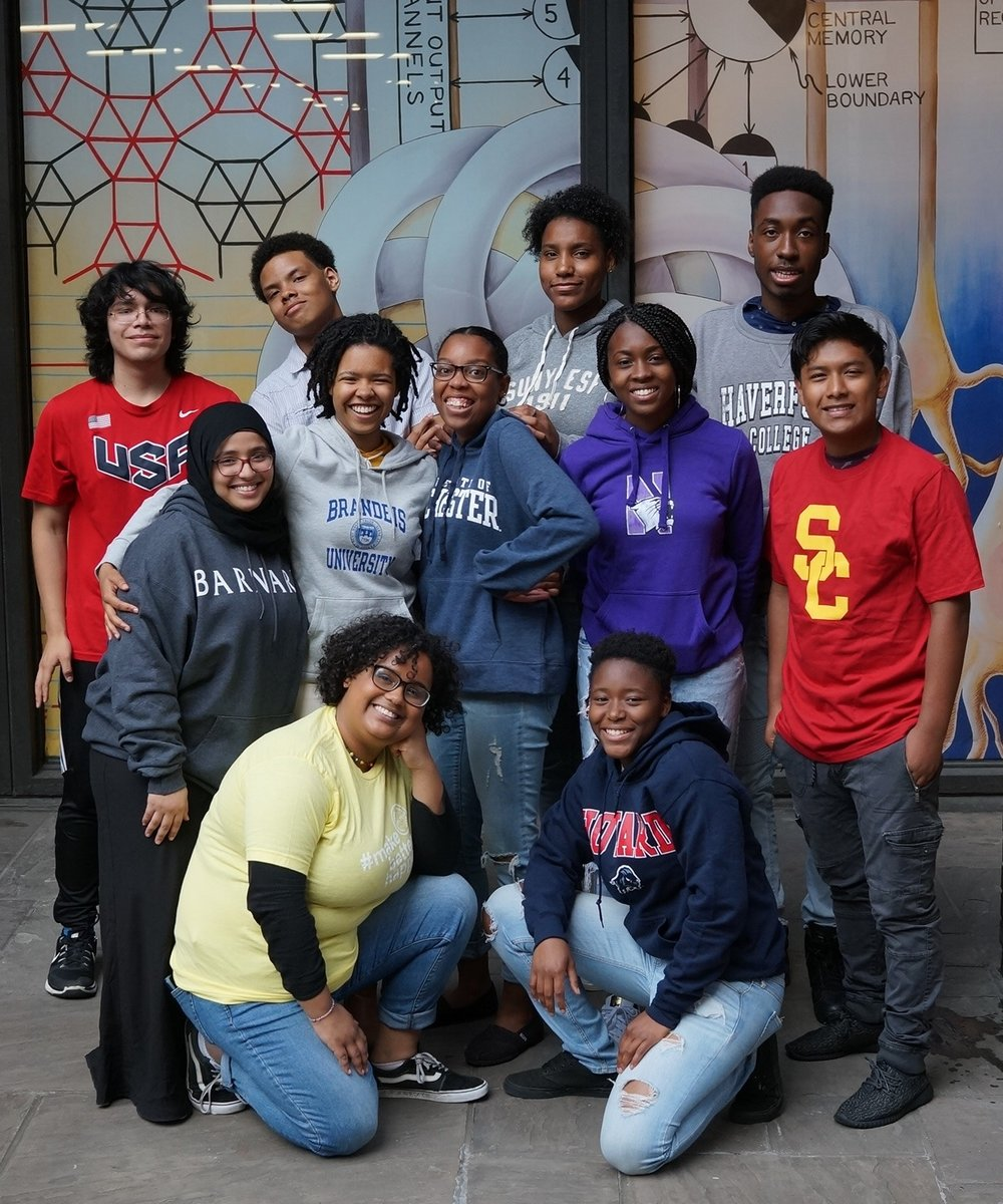 Back Row: James (Marines), Samuel (TBD), Vielka (SUNY ESF), Will (Haverford)  Middle Row: Mona (Barnard), Ariel (Brandeis), Aisha (Northwestern), Edson (USC)  Front Row: Crisleidy (City Year), Eli (Howard)  Not Pictured: Abrahan (BMCC), Aishat (Yale), Aleks (Penn State), Alex (Vanderbilt), Andy (CUNY Baruch), Christian (LaGuardia CC), DeVaune (SUNY New Paltz), Henry (UMass Amherst), Janequa (Cornell), LaRoi (Gettysburg), Malachi (SUNY Binghamton), Michael (CUNY City College), Pamela (Smith), Peter (UMBC), Thalyia (CUNY City Tech), Tia (Delaware State).
