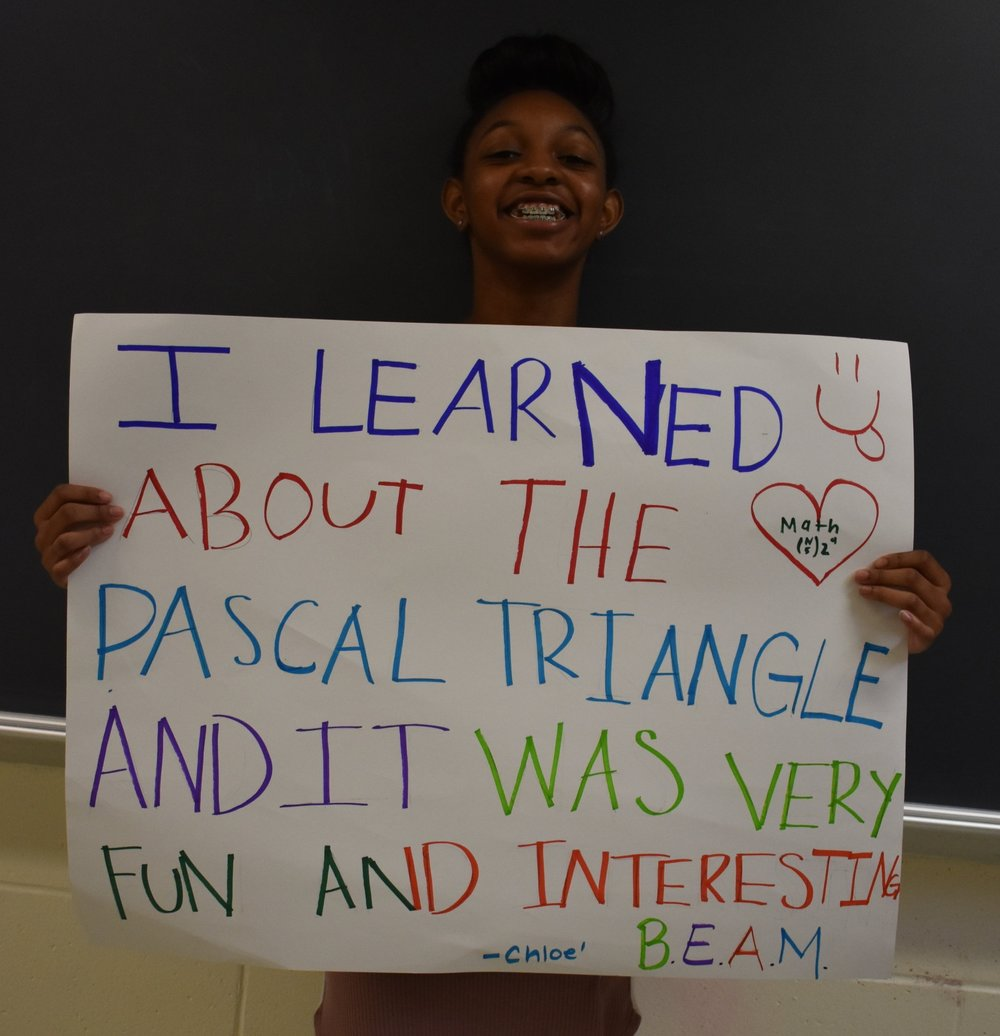 Chloe, 6th grade: I learned about the Pascal triangle and it was very fun and interesting.