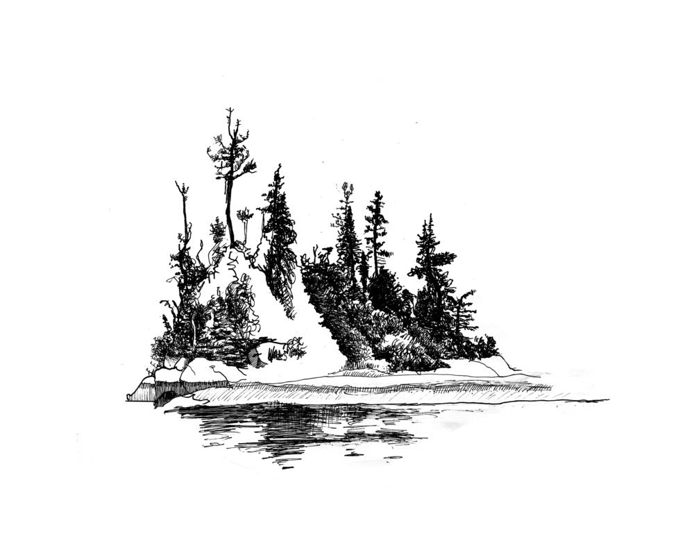 Ram Island (2014), pen and ink