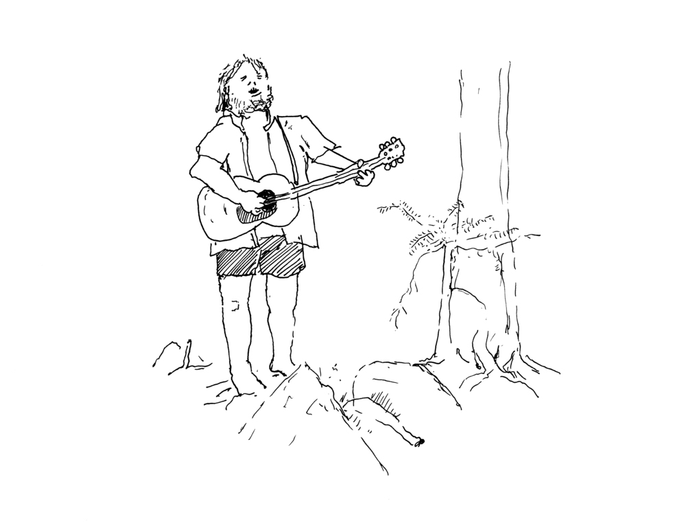 Woodland Minstrel (2015), pen and ink