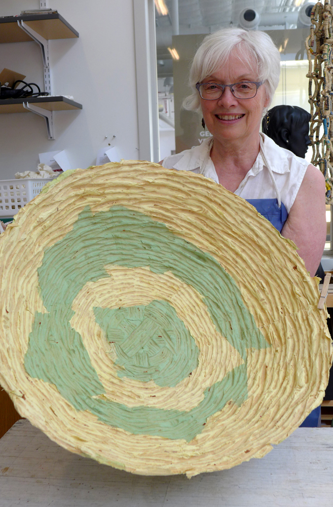 Victoria with her cast cotton basket, Continuing Ed class, Summer 2015