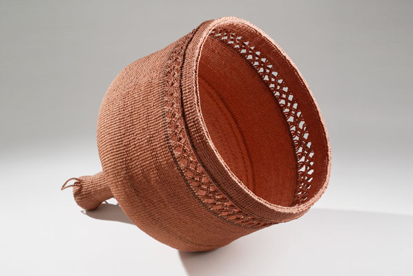 "Lamp, 2009, spun and woven hanji, persimmon dye, 14.5"" high, Design by Na Seo Hwan"